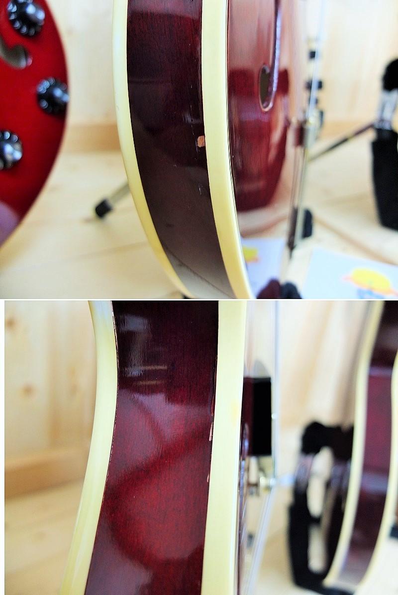 サイドに1か所塗装欠け(長い方の直径4mmほど)、バインディングと木部の境に一部塗装割れがあります。
