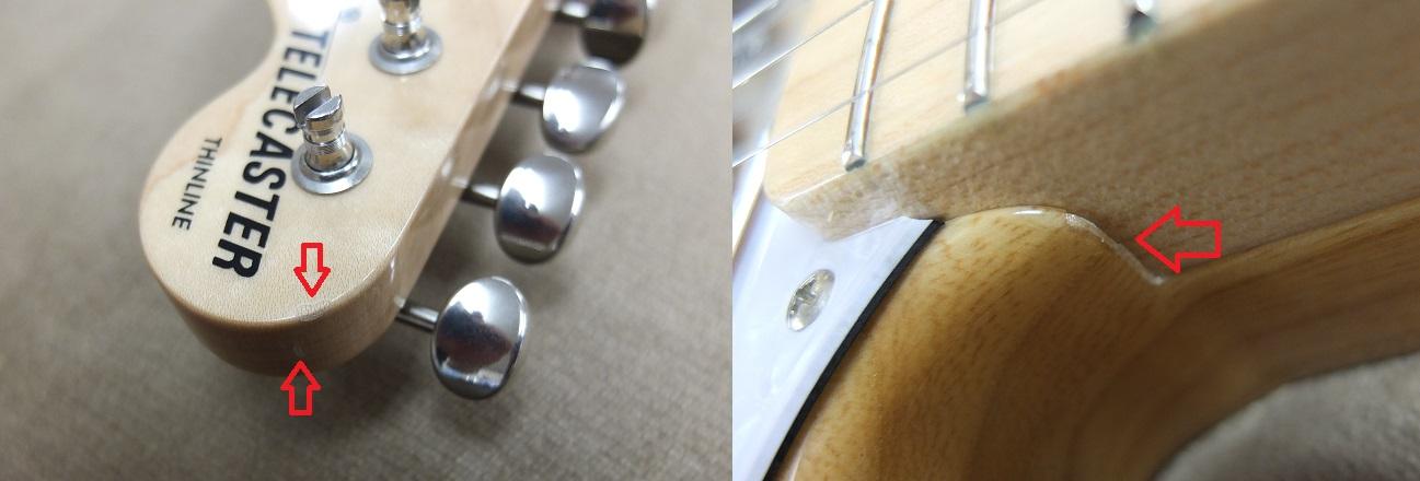 ネックのエッジの塗装欠け・割れ(赤矢印の部分)。ネックポケットに塗装欠け。