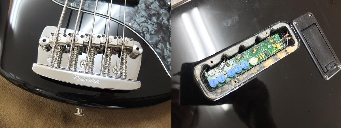 本機のポイントのピエゾはブリッジサドルに内蔵。ボディバックから回路にアクセスでき、各弦毎に音量を調整も可能(現在はすべてフル。)
