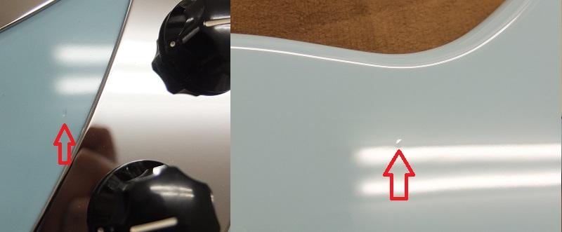 ボディにみられる小打痕。左写真はボリュームコントロール横、右はボディバックか下部。目立つものではなくよく見ないと分からない程度。