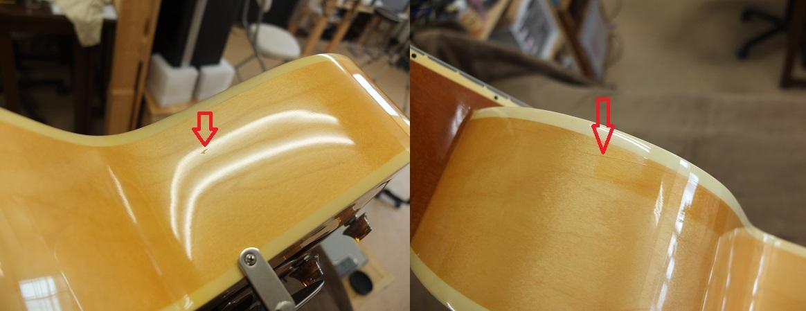 写真左:ボディサイドの下部(座って弾くときに足が触れる側)に長さ5mmほどの打痕、写真右ショルダー部分に塗装のクラックと長方形の色焼けが見られます。