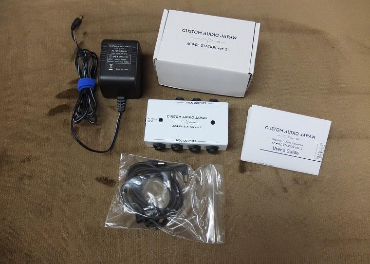 本体外箱、DCケーブル3本、12Vアダプター、取説のセットです。