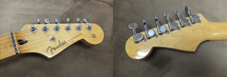 ヘッド。ペグ等メッキにはわずかなくすみなどがありますが、25年近く前のギターとは思えない綺麗な状態と言えます。