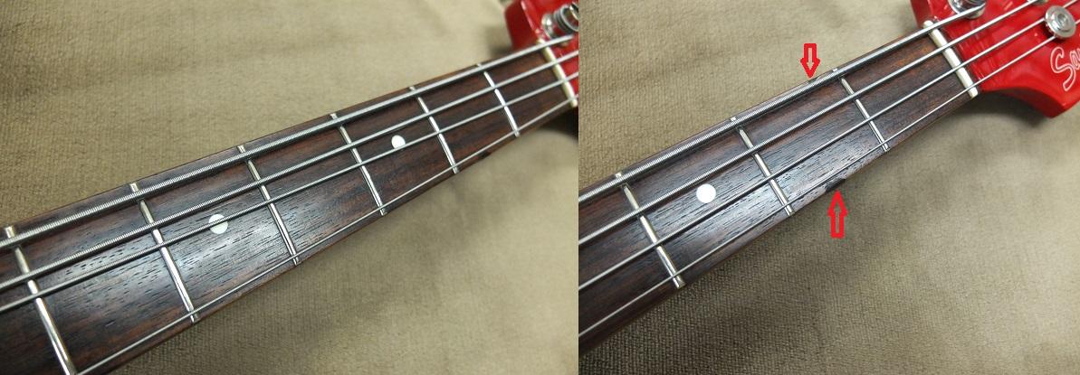 指板。当店でフレット磨きと指板の保湿処理を行っております。2フレットの側面にやや目立つ打痕(上右写真の赤矢印)。