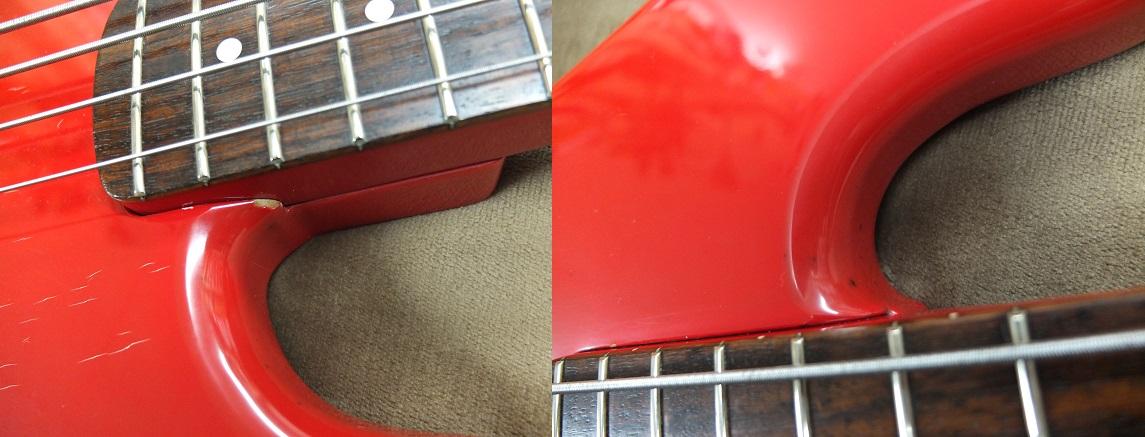 ネックポケット部分に塗装の欠け、カッタウェイの内側側面に黒いしみが点在していますが致命的な損傷はありません。